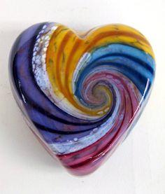 Rainbow Heart paperweight