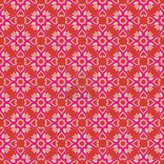 Vintage damast behang patroon met abstracte bloemen en swirls in de kleuren rood, roze, crème, bruin, grijs Stockfoto - 12760039