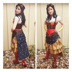 I finally made and finished my Steampunk Wonder Woman! I wore it for Free Comic Book Day, since the steampunks from Salt City Steamfest did a steampunk takeover! Please comment, and feel free to sh. Cosplay Anime, Comic Con Cosplay, Best Cosplay, Cosplay Diy, Steampunk Cosplay, Steampunk Clothing, Steampunk Fashion, Halloween Cosplay, Cosplay Costumes
