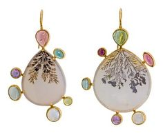 Dendritic agate earrings w/ moonstone, amethyst, tourmaline and peridot by Judy Geib