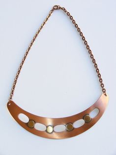 Vintage Modernist copper panel necklace 1960s. Bib by atlasfalcon, $95.00
