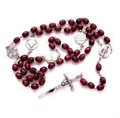 Vintage Rosary Bead Necklace, Burgundy Wood