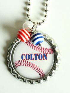 PERSONALIZED BASEBALL NECKLACE sports fan gift by bitsyblings, $7.99