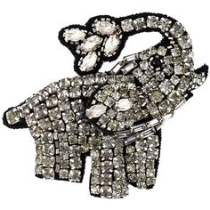 Nº21 Rhinestone Elephant Brooch (1,520 MXN) ❤ liked on Polyvore featuring jewelry, brooches, black, n°21, rhinestone brooch, elephant brooch, black jewelry and rhinestone broach