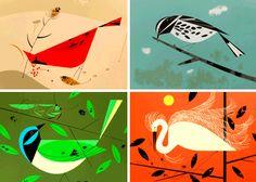 I love Charley Harper's artwork. Angular, geometric. simple, colorful.