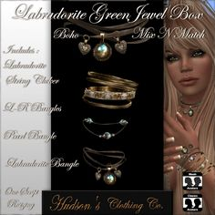Second Life Group Gifts. Here is something shiny, antique and green: a beautiful jewelry set that is . Jewel Box, Second Life, Free Gifts, Jewelry Sets, Bangles, Jewels, Group, Antique, Beautiful