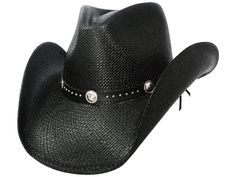 TERRI Austin Black Panama Straw Cowboy Hat with Pinchfront Crown