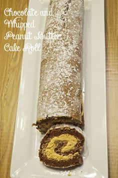Chocolate and Whipped Peanut Butter Cake Roll. Chocolate cake with whipped peanut butter filling. #cakeroll #chocolateandpeanutbutter #dessert www.3glol.net The Ultimate Party Week 23