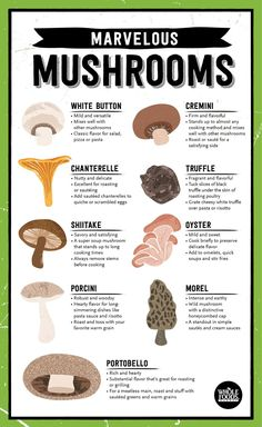 Natural plant-based diet: mushroom guide, courtesy whole foods.