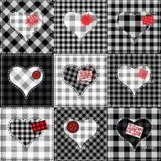 Illustration of Seamless background pattern. Checkered quilt with hearts. Valentines day background vector art, clipart and stock vectors. Colchas Country, Country Quilts, Papel Scrapbook, Scrapbooking, Inchies, Black And White Quilts, Black White, Valentines Day Background, Pocket Letters
