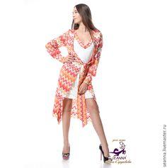 """Купить Платье с запАхом сразу на 3 размера трикотаж """"Коралл Missoni"""" - рыжий, платье пальто"""