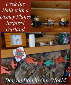 Deck the Halls with a Disney Planes Inspired Garland  #PlanesToTheRescue #Ad #Cbais  Free simple shapes printable included to make your own or use for coloring.