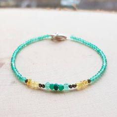 Chrysoprase Bracelet Yellow Sapphire Bracelet May Birthstone