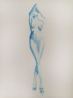 "Fine Art Print, Watercolor, ""Peep Show,"" 8.5 in. x 11 in. by ArtbyVBM, $19.00 #woman #nude #blue"