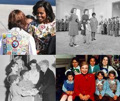 First Ladies have always had a special relationship with the Girl Scouts of America - From upper left, clockwise: Michele Obama, Jacqueline Kennedy, Hillary Clinton, Eleanor Roosevelt