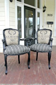 Chair makeover French Arm Chairs to be Customized Reupholster Furniture, Upholstered Furniture, Chair Makeover, Furniture Makeover, Chair Redo, Redo Chairs, French Furniture, Shabby Chic Furniture, Painted Chairs