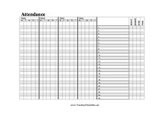 A horizontal attendance chart for a teacher to track students' attendence by name and day. Free to download and print