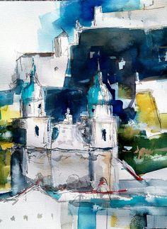 #Salzburg #Watercolour #Modern #Art Salzburg, Watercolour, Modern Art, Abstract, Artwork, Flowers, Painting, Pen And Wash, Summary