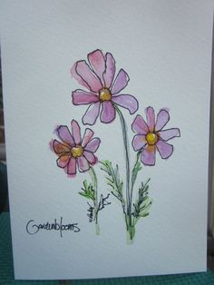 Dainty Cosmos Watercolor Card by gardenblooms on Etsy