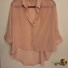 Sheer high low button down blouse Sheer high low button down three quarter sleeve blouse, peachy/cream/light pink color, size M Cotton On Tops Blouses