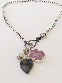Silver Charm Necklace with a Tibetan Pearl by CJCjeweldesigns, $109.00
