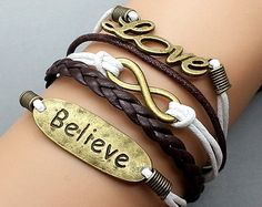 Believe   Cursive Love  Infinity Wish Charm by Infinitywishes, $5.99