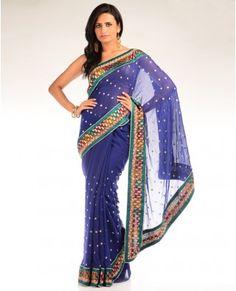 Prussian Blue Embellished Sari