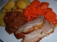 Vepřovka z papiňáku Pot Roast, Pork, Menu, Ethnic Recipes, Carne Asada, Kale Stir Fry, Menu Board Design, Roast Beef, Pork Chops