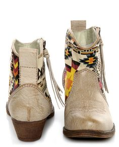 Big Buddha Wendy Natural Multi Southwest Ankle Boots