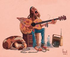 The hippie street Musician and his poor dog. Clearly he's not a good singer. #sketch #animation #visualdevelopment #artistsoninstagram #characterdesign #illustration #guitarist #streetmusicians