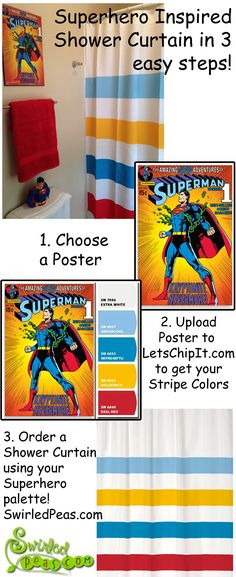 A Swirled Peas Shower Curtain brings top quality, unique style to your bathroom! Upload your favorite poster or print to the Sherwin Williams website Chip It! tool to get a computer generated color pa