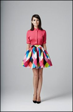 Geometric skirt with button up.