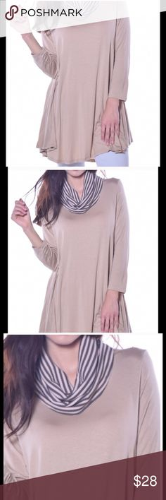Pastel taupe cowl neck tunic top mini NWT made USA This stylish taupe cowl neck tunic is 95% viscose & 5% spandex.  It would be perfect to wear with tights.  This item is 100% brand new and made in USA. This item is so adorable and stylish the possibilities are endless.  Buy with confidence I am a top rated seller, fast shipper, and mentor.  Don't forget to bundle and save. Pastels Clothing Tops Tunics