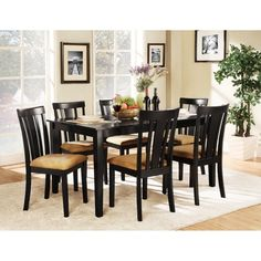 Homelegance Tibalt 7 Piece Rectangle Black Dining Table Set - 60 in. with 6 Slat Back Chairs - Dining Table Sets at Hayneedle