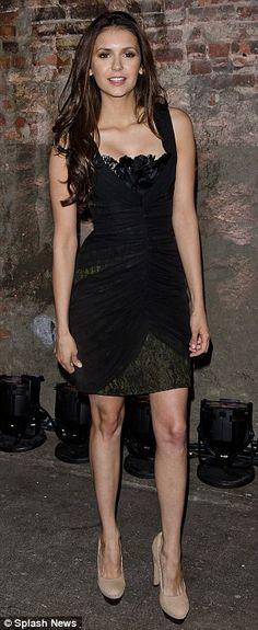 Nina Dobrev in Christian v. Siriano, at Mercedes-Benz Fashion Week 2012