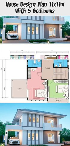 House design plan with 5 bedrooms - Home Design with Plansearch Home Bedroom, Modern Bedroom, Bedrooms, Big Modern Houses, 2 Storey House, S Brick, Home Design Plans, Modern Architecture, Bungalow