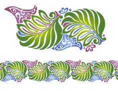 Hawaiian Flower Stencils | Hawaiian Leaf Scroll Stencil Hawaiian Quilt Patterns, Hawaiian Quilts, Quilting Stencils, Stencil Patterns, Hawaiian Flowers, Hibiscus Flowers, Leaf Template, Leaf Design, Border Design