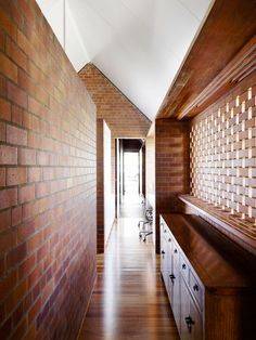Image 4 of 20 from gallery of Christian Street House / James Russell Architect. Photograph by Toby Scott Brick Architecture, Australian Architecture, Interior Architecture, Light Brick, Brick Interior, Brick Texture, Brick Pavers, Street House, Brick And Stone