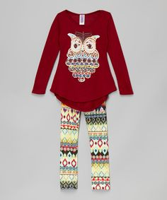Look at this Burgundy Owl Tunic & Ikat Leggings - Toddler & Girls on #zulily today!