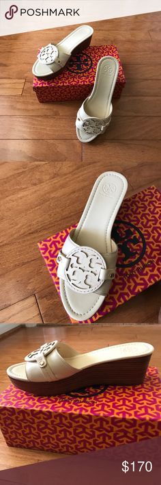 Tory Burch cream slides Madalena 70mm wedge slide - veg leather. Cream    Excellent condition. Worn once! Tory Burch Shoes Wedges