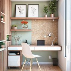 7 Beautiful Home Desk Ideas Make Comfortable (for Cozy Study) - Best Warm Home Decor ideas Office Nook, Home Office Space, Home Office Desks, Office Art, Office Decor, Green Home Offices, Small Home Offices, Warm Home Decor, Cheap Home Decor