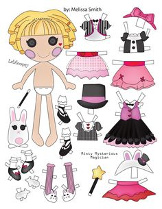 Here is another Lalaloopsy paper doll designed by me using Adobe Illustrator. She was created by MGA. Misty is a magician themed doll wh. Paper Dolls Clothing, Barbie Paper Dolls, Vintage Paper Dolls, Fabric Dolls, Rag Dolls, Antique Dolls, Old Baby Clothes, Paper Art, Paper Crafts