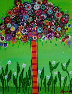 tree of life | ... Tree of Life. I have painted different colorful flowers on the tree