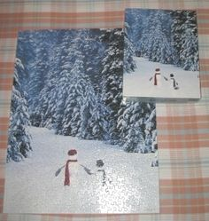 2003 Springbok 500 PC Jigsaw Puzzle Snowmen In The Forest