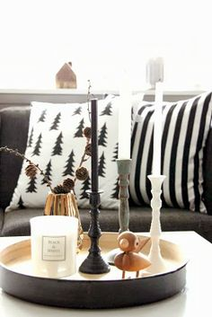 black and white Scandinavian style Holiday decorating