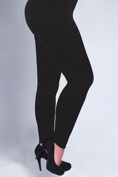 54239fc4f8e Black full length leggings with all over studs Plus Size Womens Clothing
