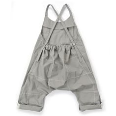 Open Back Baby Dungarees - Grey with white stitching