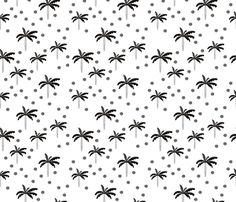 Summer palm tree beach coconut pastel bikini tropics illustration print in black and white - fabric and wallpaper design by Little Smilemakers Studio at Spoonflower