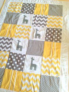 Giraffe Baby Crib Quilt by AlphabetMonkey, Baby Shower Giraffe, Giraffe Nursery, Baby Elephant, Crib Blanket, Tag Blanket, Baby Blankets, Everything Baby, Baby Crafts, Baby Decor