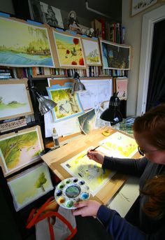 Children's book illustrator/writer Eliza Wheeler in her home studio. http://wheelerstudio.com/2012/04/30/sigh-of-relief-due-upon-completion/